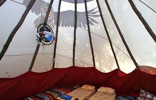 הכפר האינדיאני - פנים האוהל
